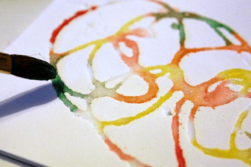 watercolor salt glue painting