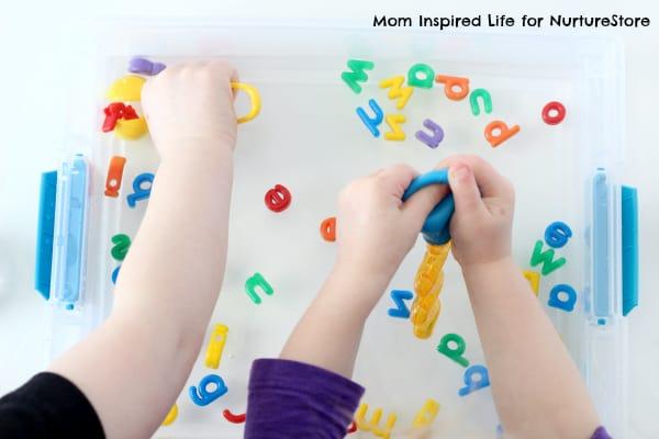 letter sounds sensory play tub