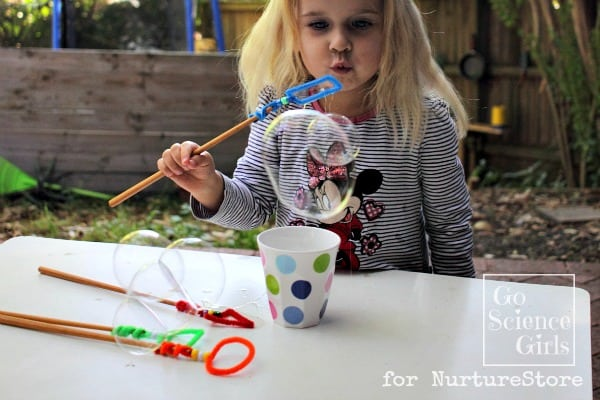 Blowing round bubbles with a rectangular bubble wand