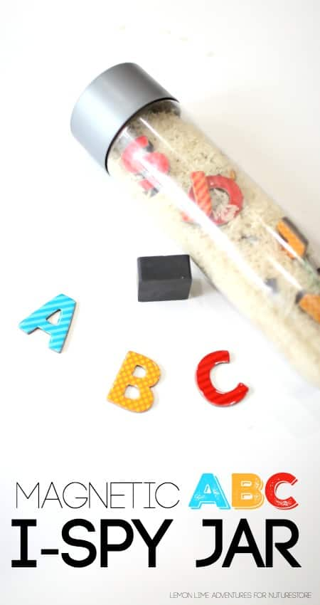 How to make a magnetic ABC I-spy jar - great sensory bottle idea and a fun alphabet game.