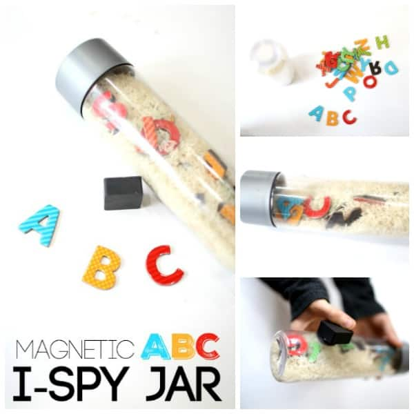 Magnetic Ispy Jar with the Alphabet