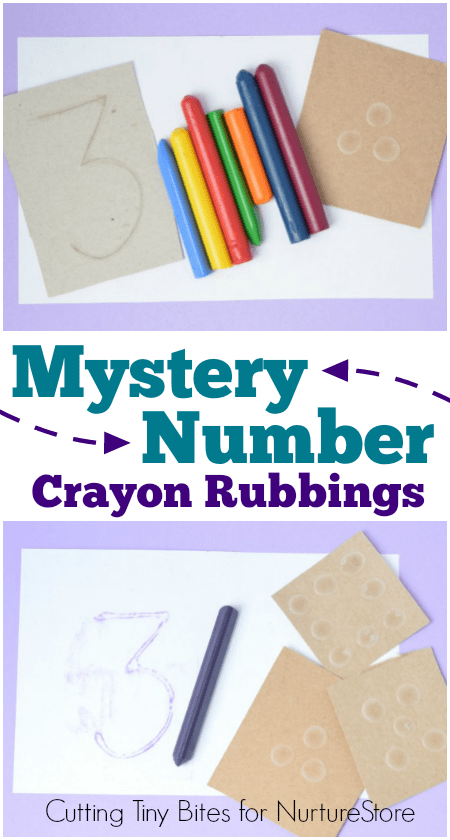 Fun mystery number recognition game using crayon rubbings - great number activity for toddlers and preschool.