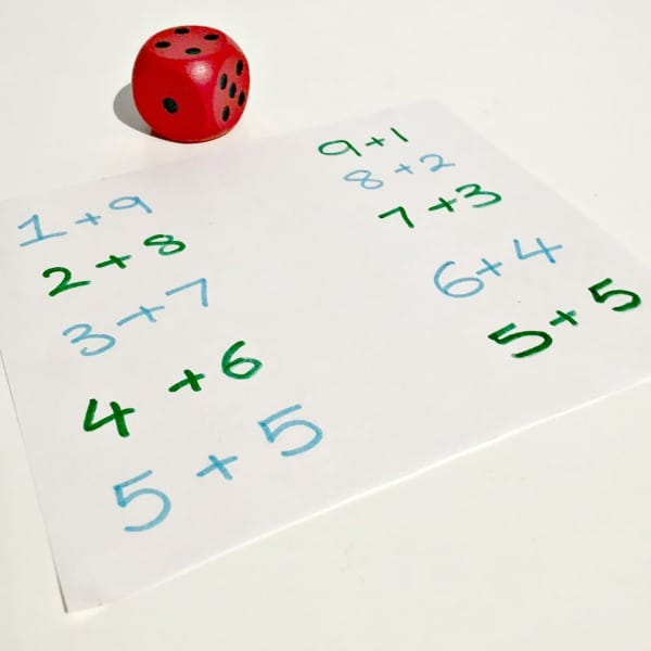 number bond math game using dice