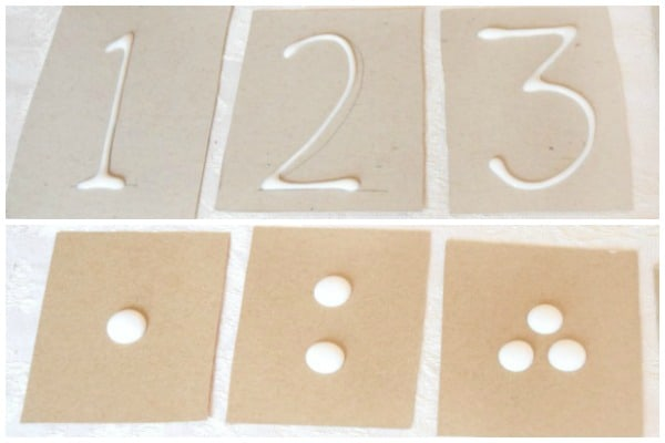 number recognition cards made with glue
