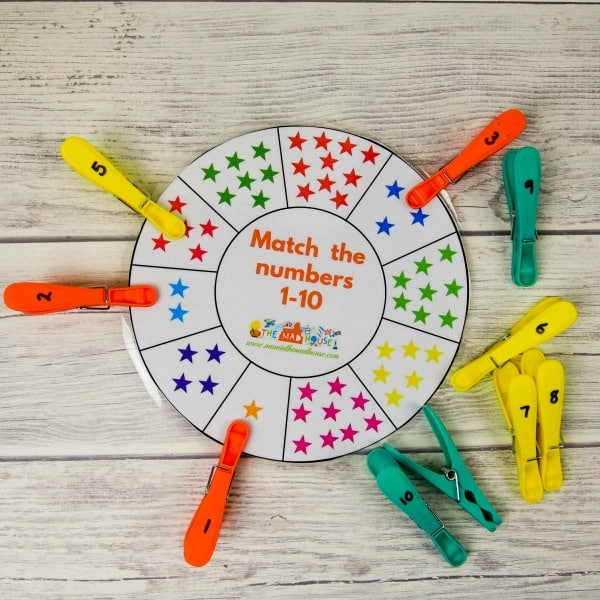 number wheel number matching activity with clothes pins