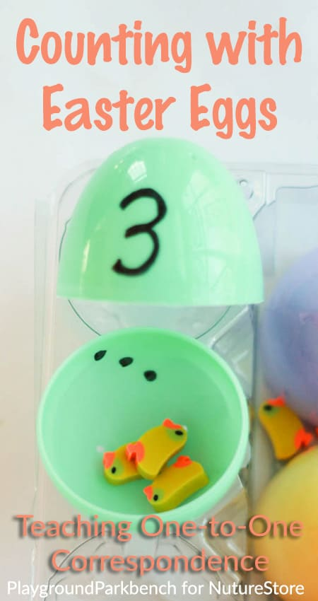 One-to-One Correspondence activity for toddlers - great counting game using plastic Easter eggs