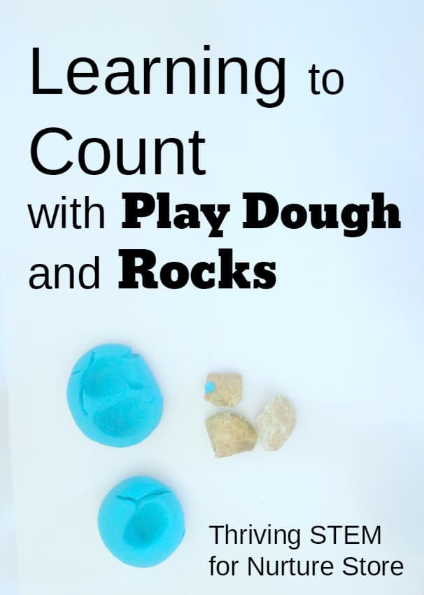 Learning to count activity using play dough and rocks for hands-on, sensory learning. Great counting activity for preschool.