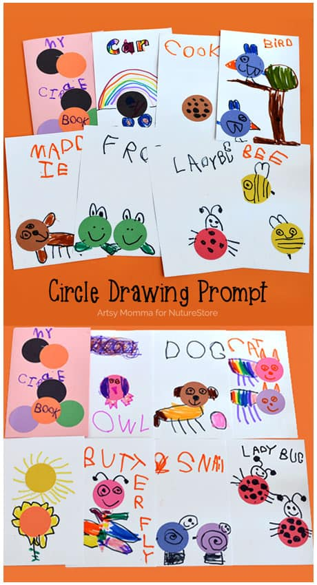 Learn about shapes with this circle drawing prompt - make a Circle Book with your child to explore math and art. Such a fun shape investigation for preschool.