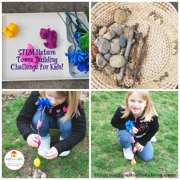 STEM Tower Building with Nature Challenge for Kids
