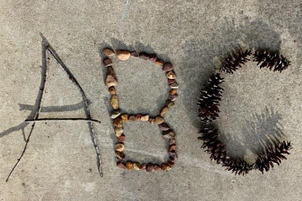 alphabet land art for kids