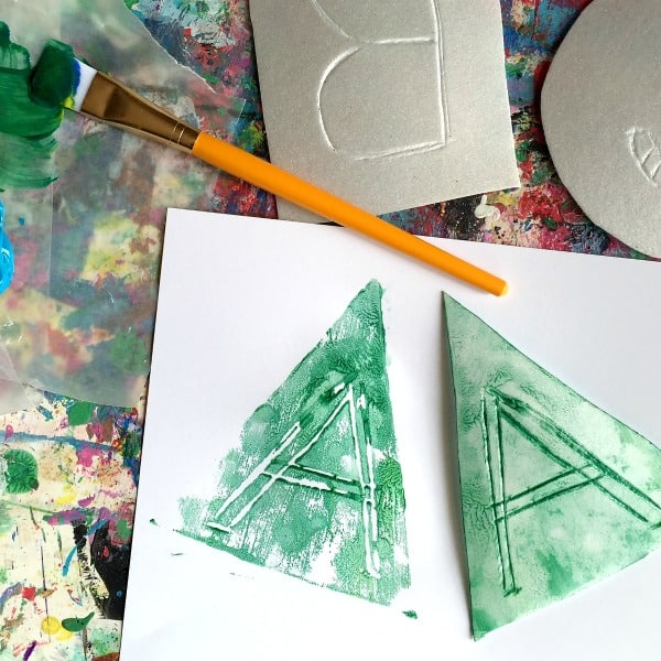 alphabet activity using paint to print letters