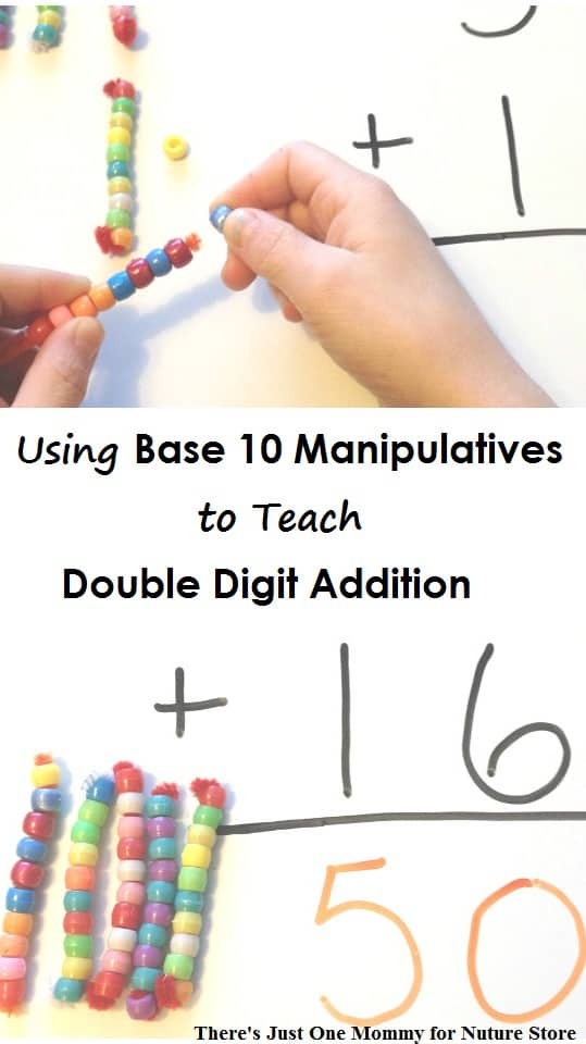 How to teach double digit addition using homemade base 10 manipulatives - great hands-on math technique especially good for visual learners math.