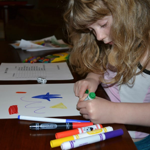art dice activity with shapes and numbers