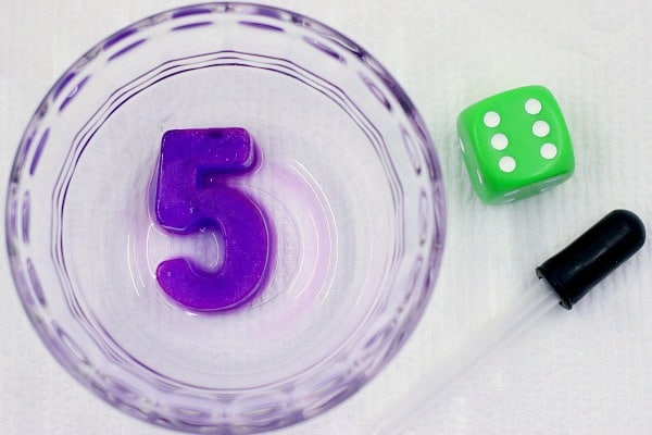 number recognition activity using ice and dice