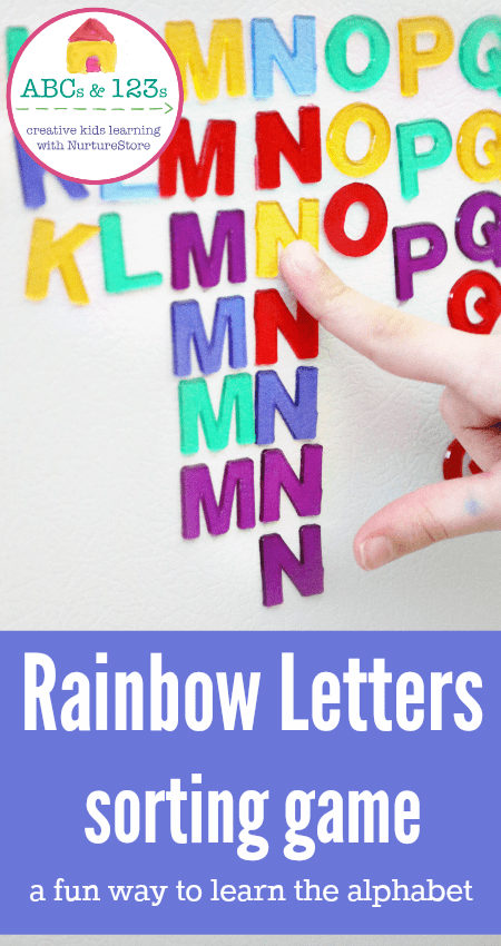 Learn the alphabet letter sorting game - great fine motor skills activity too.