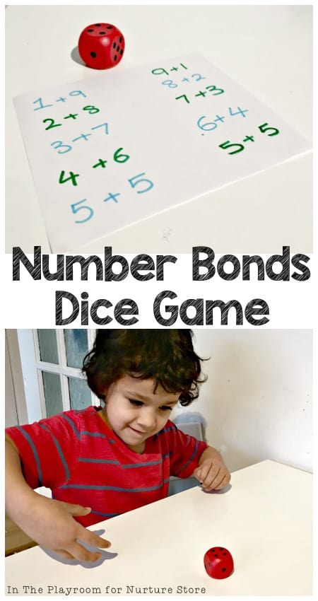 Simple math game using dice to help your child learn number bonds to ten. Great mental math game for kids.