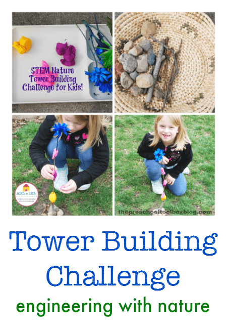 Tower building challenge - outdoor STEM engineering project for kids