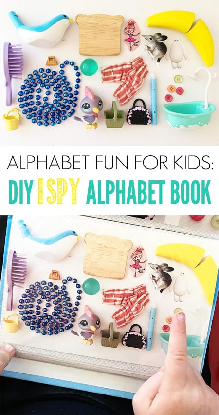 How to make DIY I SPY Alphabet Book - great letter sounds game.