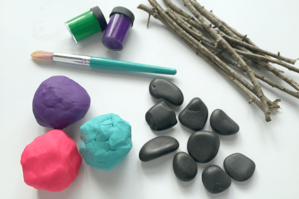 Materials for Playdough Flower Math Game for Kids