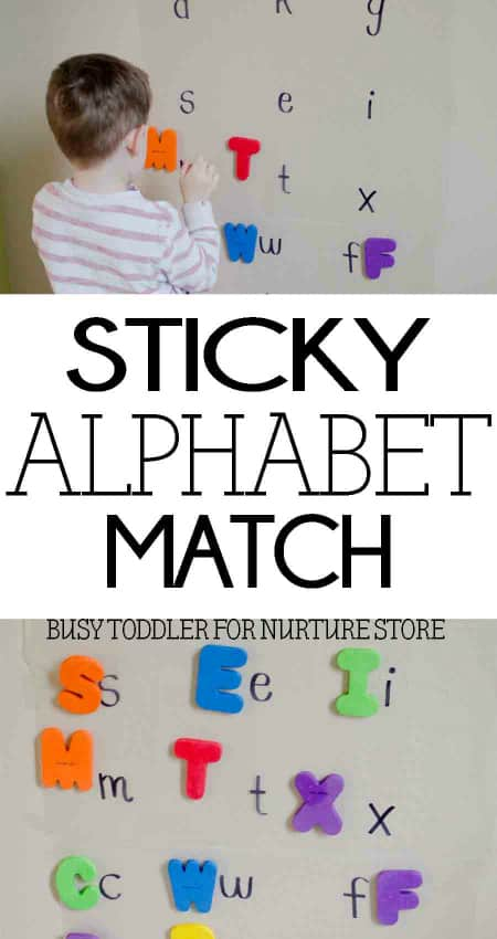 Sticky alphabet matching game - great upper case lower case activity