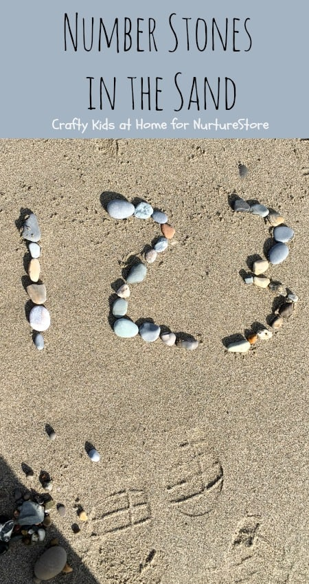 Number Stones math at the beach number recognition game - great outdoor math activity for learning to write numers