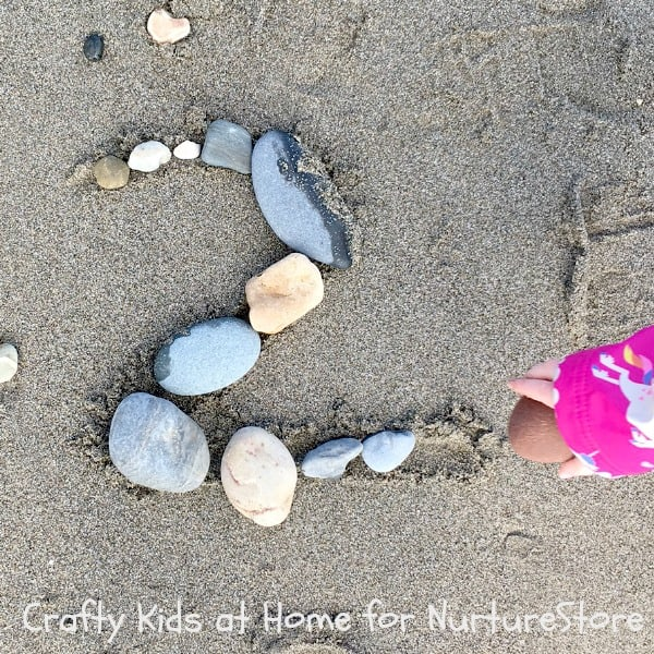 number recognition activity using pebbles