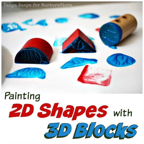 Painting 2D Shapes with 3D Wooden Blocks - fun geometry math art for kids