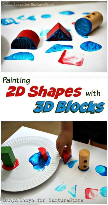 Painting 2D Shapes with 3D Wooden Blocks - fun geometry process art for kids