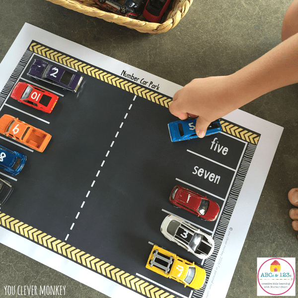printable car play mat with numbers