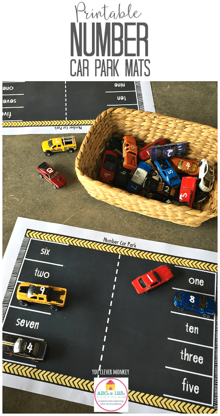 Printable Number Car Park Mats - great number recognition activity using cars. Perfect transport theme printables - print and play!