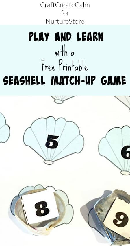 Free printable shell matching game - teaching numbers and counting math activity using shells