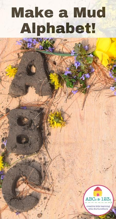 Sensory alphabet for children - great for outdoor literacy activities - make a mud alphabet!