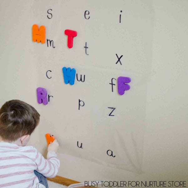 upper lower case letters matching game with contact paper