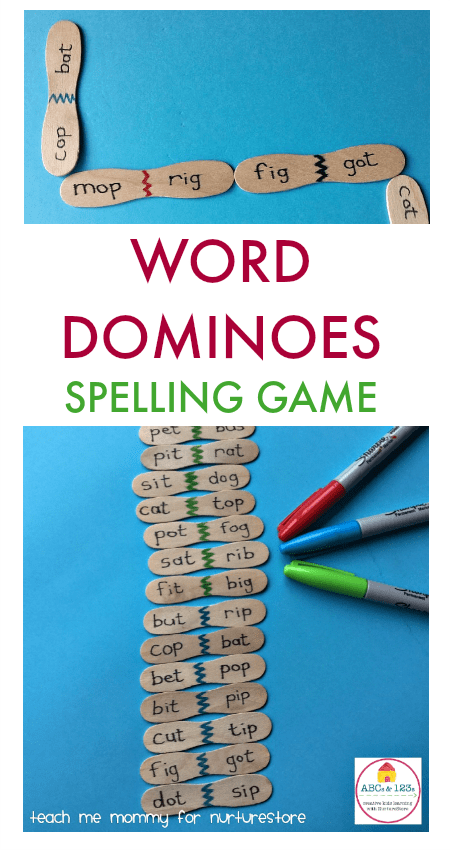 Homemade word dominoes spelling game for cvc words