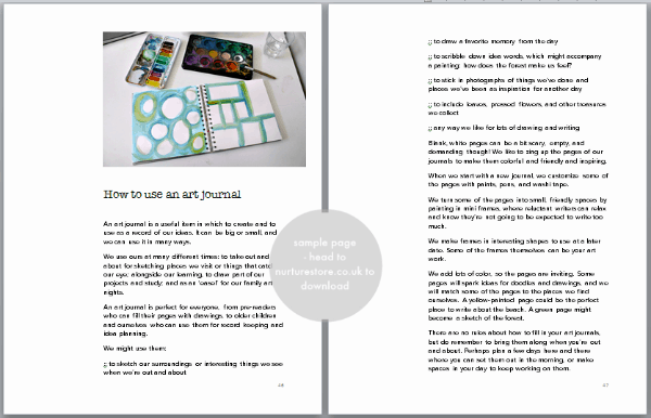 sample nurture art pages