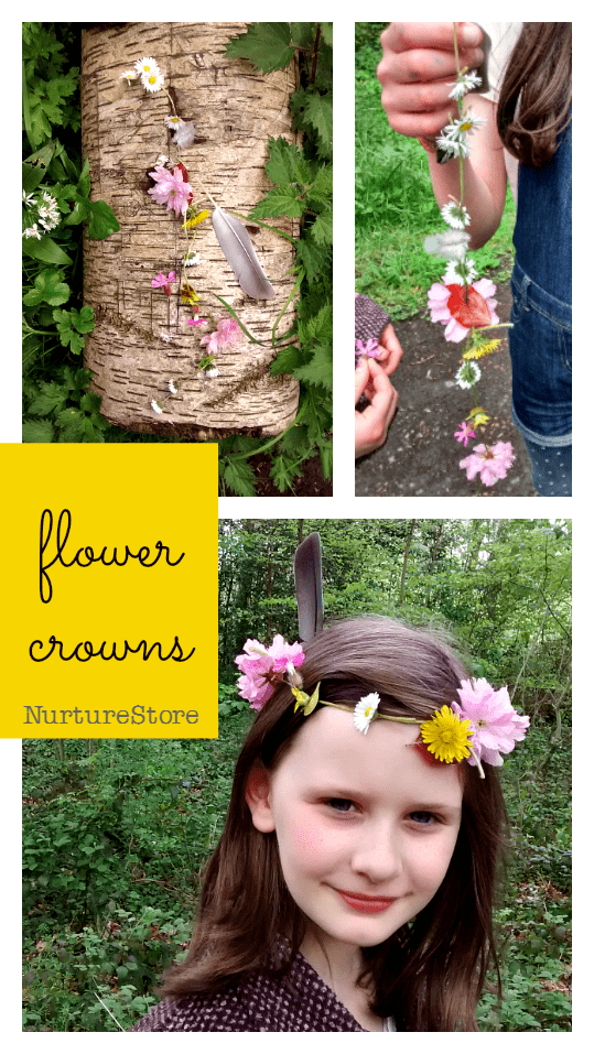 How to make flower crowns forest school activity, nature walk craft, beltane craft