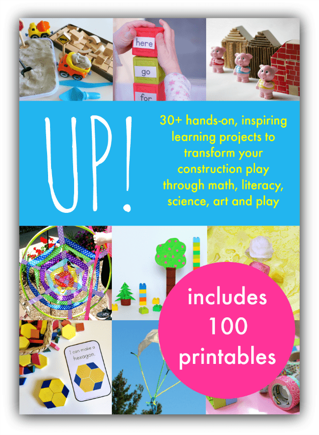 Up! block play ideas, block center activities, construction play ideas. 100 free block play printables.