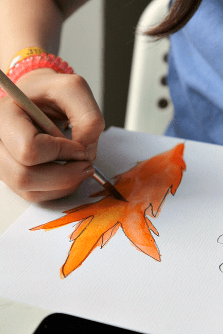 watercolor leaf art for children