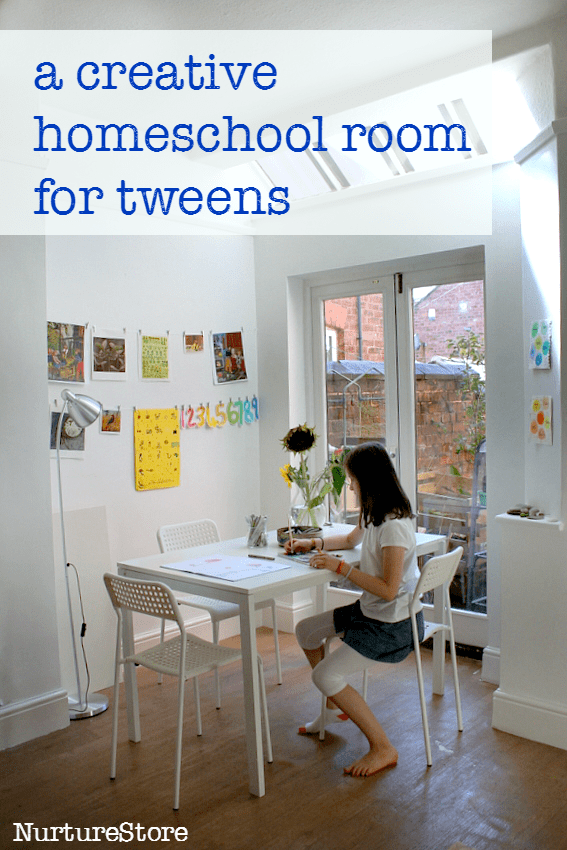 A creative and simple homeschool room for tweens with ideas for homeschool room layout, homeschool stroage solutions and a home art room for kids