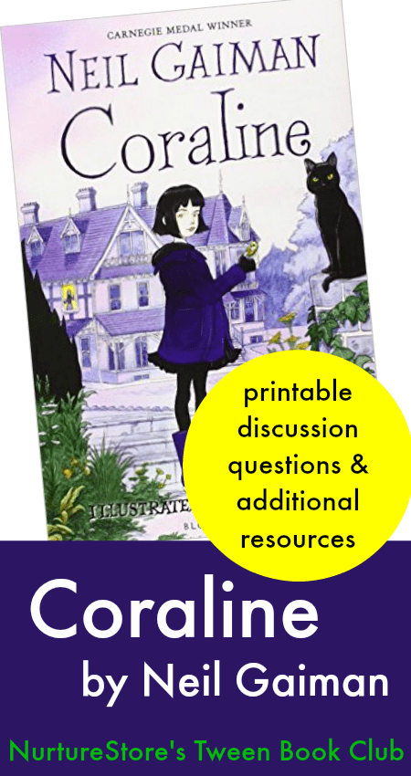 graphic about Printable Book Club Questions referred to as Coraline e-book club materials and schooling marketing consultant - NurtureStore