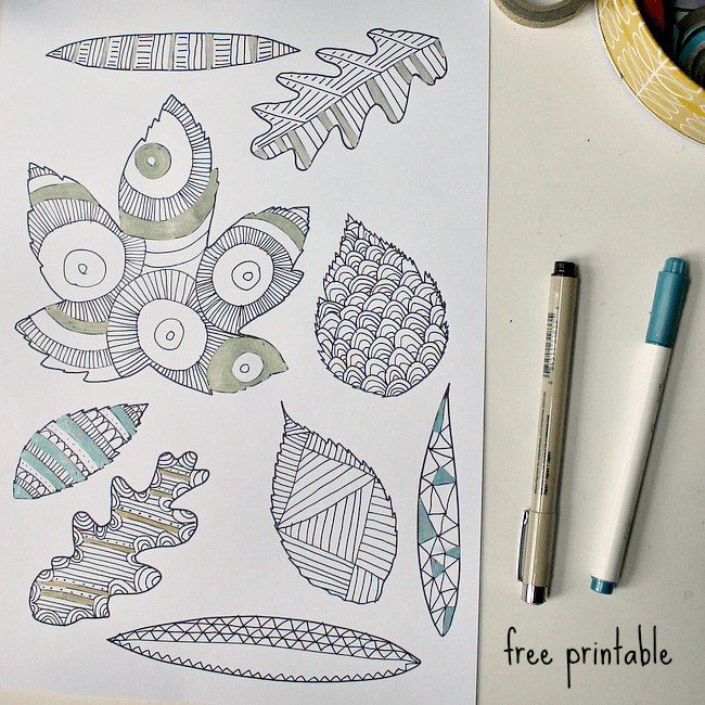 leaf-zentangle-page