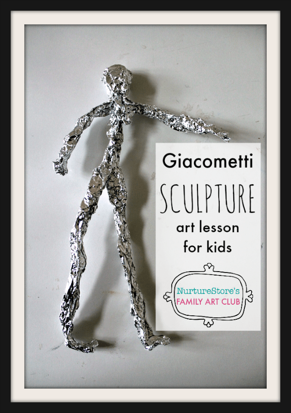 Giacometti art project for children, simple sculpture project for kids, sculpture art lesson plan for children, online Family Art Club