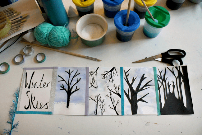 winter skies art project for children, Join NurtureStore's Family Art Club a free online art class for children parents & teachers. Free art projects for kids, online art workshops