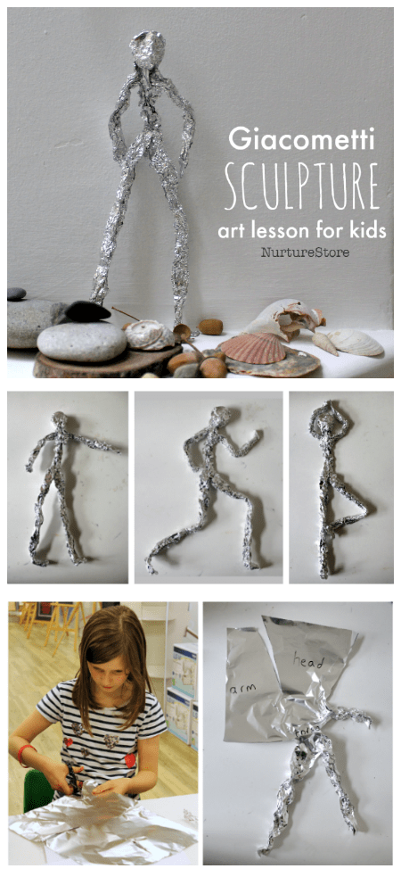 Giacometti art lesson plan, easy sculpture project for children, online art lessons for kids