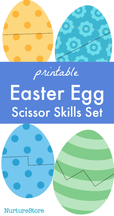 Easter egg scissors skills printables sheet - set up a snipping station with these scissor skills tips!