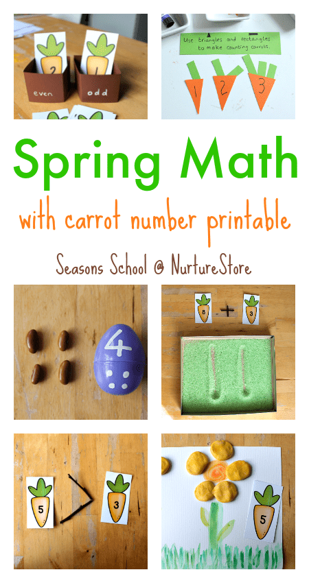 Spring math activities that are fun! Carrot number printables and lots of egg math activities