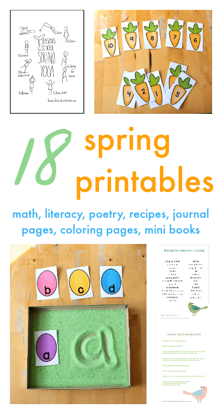 Spring printables for homeschool and classroom, spring lapbooks, spring math printables, spring literacy printables, spring journal pages printables
