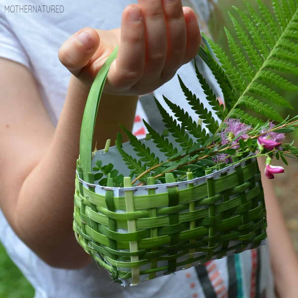 nature woven baskets children can make