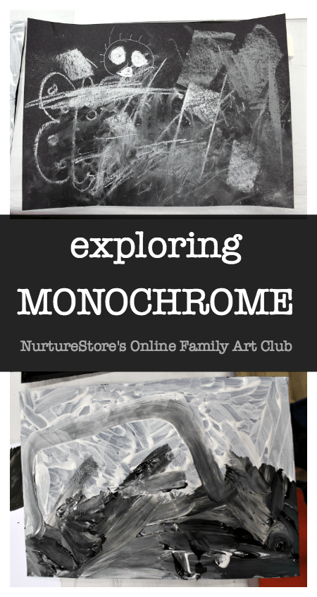 monochrome art lesson for children, black and white art project
