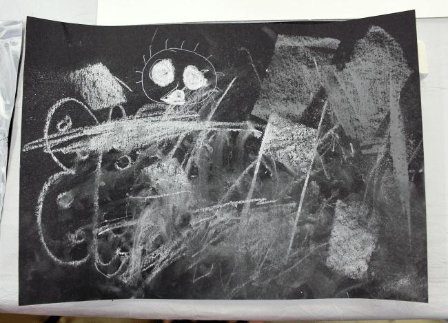 monochrome art lesson for children